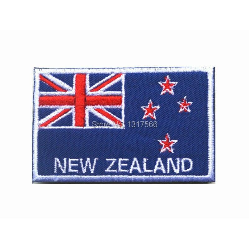 Parche bordado de la bandera nacional de Nueva Zelanda parches bordados brazalete táctico militar marca de hombro pegatina de tela