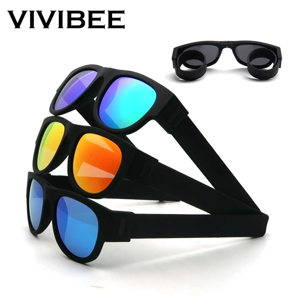 VIVIBEE Novelty Mirror Men Polarized Folding Sunglasses New Arrival Slap Sport Foldable Wristband Shades 2021 Trend Product