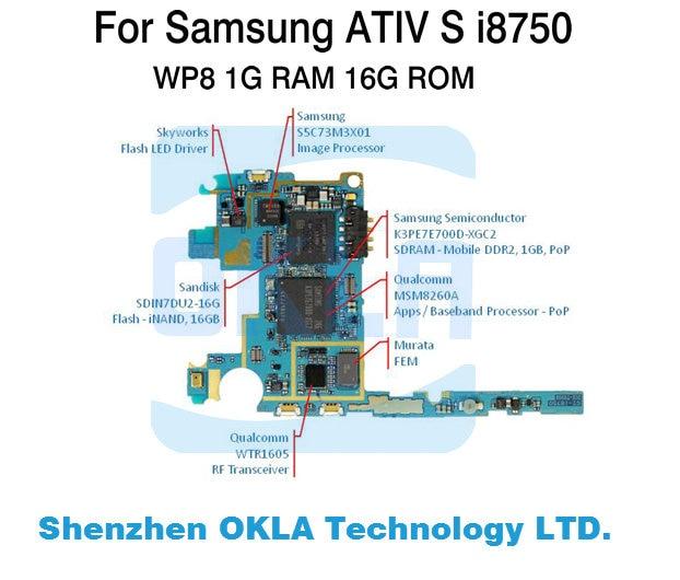 1 Uds. Para Samsung ATVI S i8750 GT-i8750 placa base usada placa madre placa lógica reemplazo del teléfono original