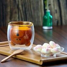 Joli ours verre à Double paroi sans plomb   Verre fait main résistant à la chaleur, jus de lait, tasse de boisson isolée verre transparent, thé café boissons