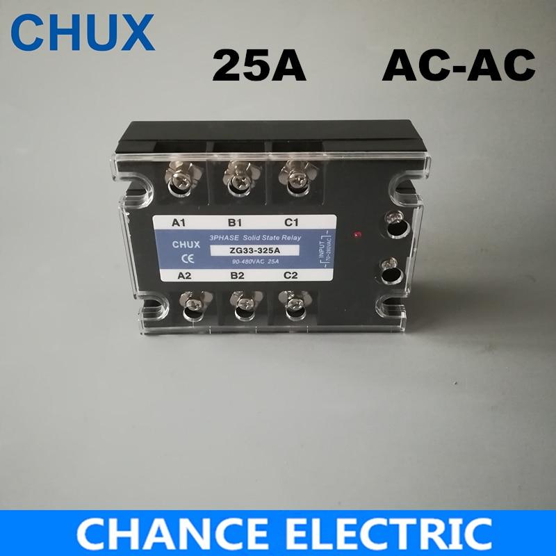 Relé de estado sólido de tres fases 25A control de CA relé de estado sólido SSR 25AA 70-280VAC a 90-480VAC envío gratis (ZG33-25A)