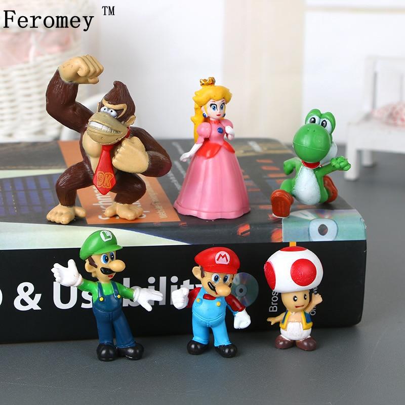6 pçs/lote Super Mario Bros Mario Luigi Cogumelo Toad Princesa Peach Yoshi Donkey Kong Figura Toys Dolls Crianças Presentes Miúdo 4-6cm