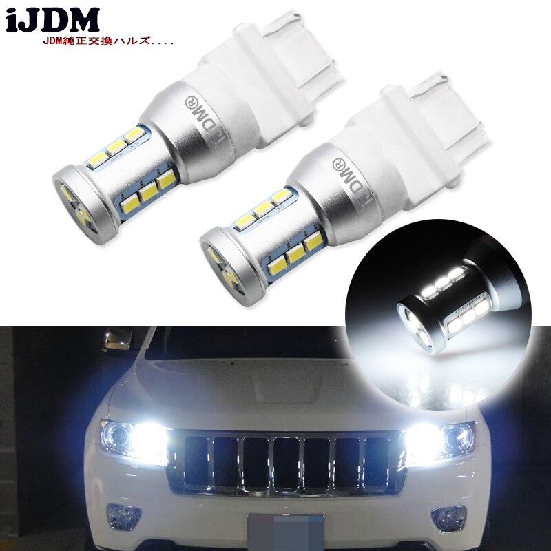 IJDM 6000K blanco Canbus 3157 LED 3357 3457 T25 bombillas LED para luces de circulación diurna DRL para 2011 y Jeep Grand Cherokee 12V 12V