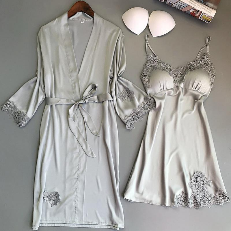Женский костюм-двойка, комплект летней одежды для сна, кружевная ночная рубашка, сексуальное атласное кимоно, банный халат для невесты, подр...