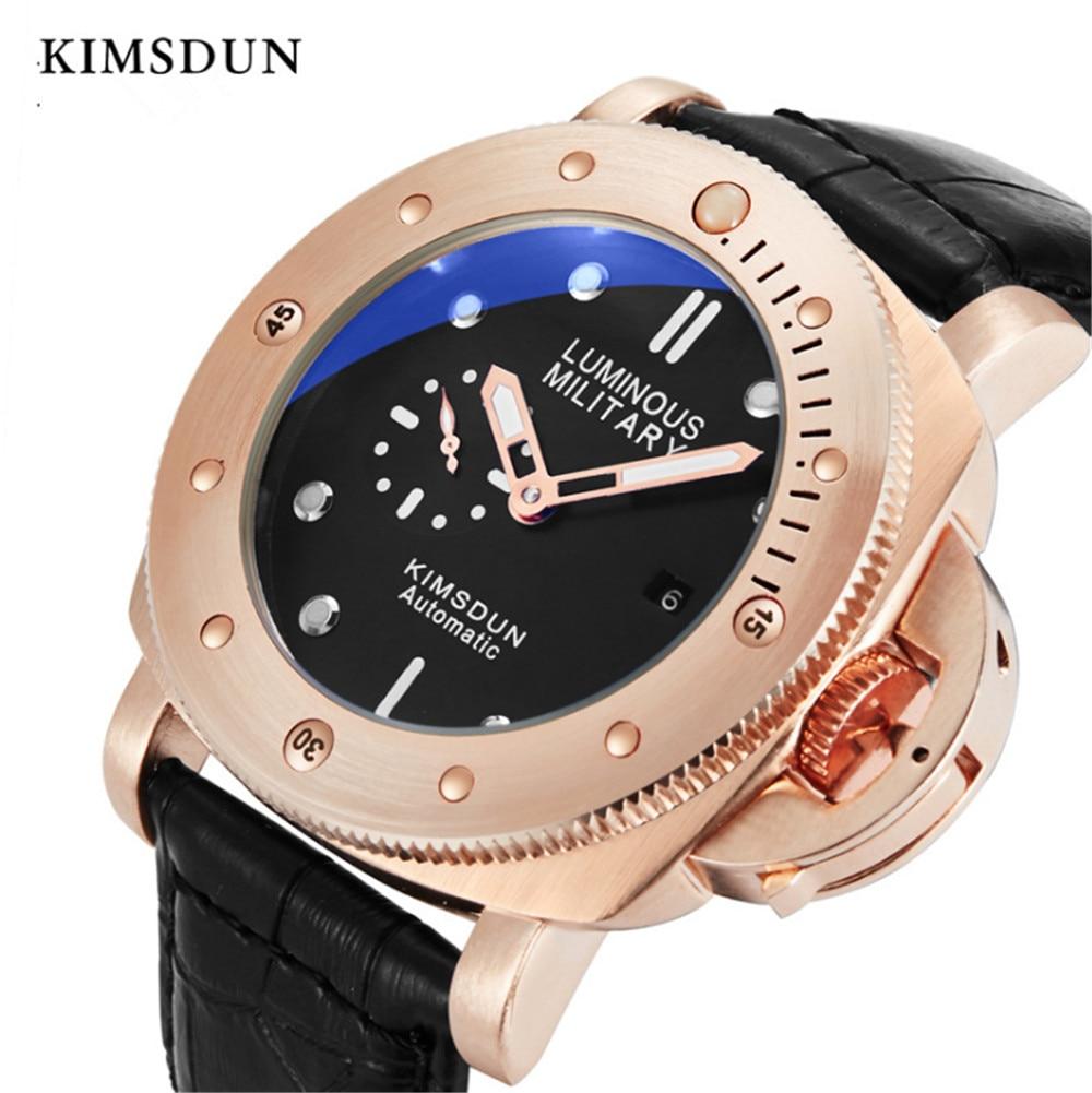 Relojes para hombre, marca de lujo, KIMSDUN Sport, reloj de pulsera de cuero para hombre, reloj mecánico automático de viento automático, reloj de pulsera