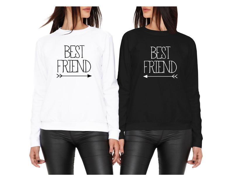 Skuggnas Best Friend Matching Sweatshirt Best Friends Jumper BFF Clothing Long Sleeve Fashion 90s aesthetic drop ship