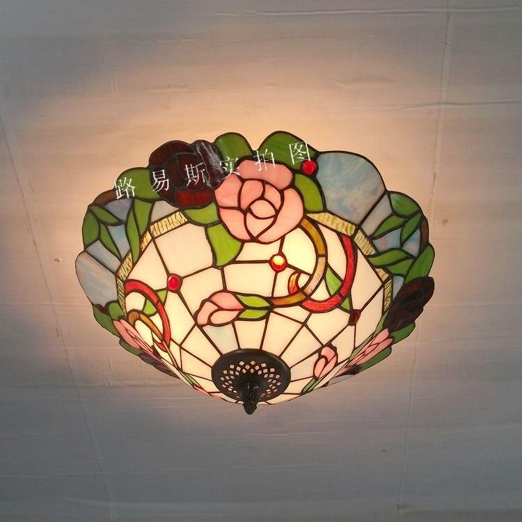 Nuevas lámparas de techo Pastoral Rosa americana Tiffany Rosa lámparas de vidrio dormitorio sala de estar entrada iluminación niños habitación balcón