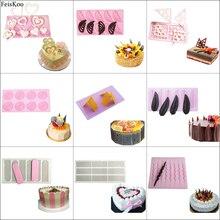 Outils de décoration de gâteaux en Silicone 3D   Cœur, outils de décoration de gâteaux, cuisson de gâteaux, pochoir de chocolat en Silicone, moule de gâteaux danniversaire, outils de décoration de cookies