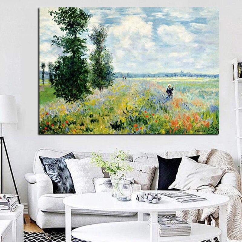 Картина маслом на холсте с принтом Клода монета, Маки в Argenteui, Настенная картина для гостиной