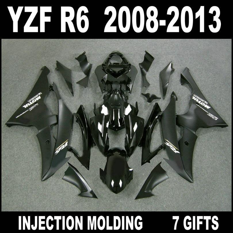 NEW HOT bodywork for YAMAHA R6 fairing kit ABS plastic 2008 2009 - 2013 flat black fairings 08 09 10 11 12 13 YZF R6 parts