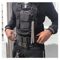 Регулируемый черный жилет в стиле хип-хоп, уличная одежда, функциональная тактическая портупея, нагрудная сумка Канье Уэста, поясная сумка, ...