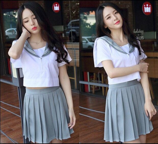 school uniform outfit white short sleeve top and pink skirt Japan South Korea School Uniform Short Sleeve Tops and Pleated Skirt British Navy Style Sailor Uniform Student Uniform