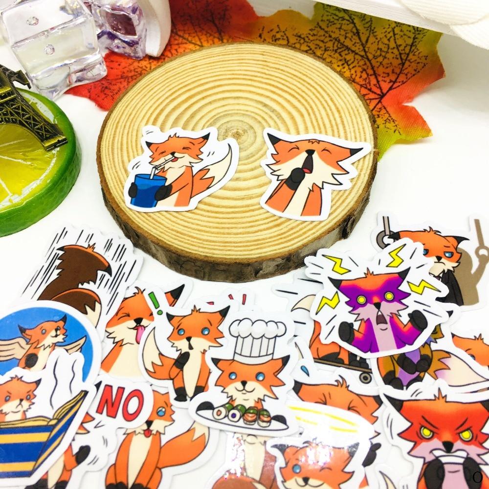 40 шт., милые наклейки с лисой, аниме, наклейки с иконой, подарки для детей, для ноутбука, чемодана, гитары, холодильника, велосипеда, автомобиля, игрушки