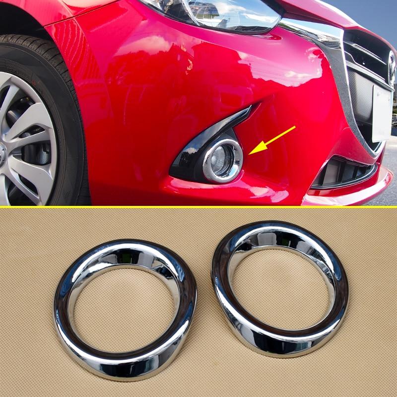Bright Chrome Fog Light Cycle Ring Cover FOR Mazda2 Mazda 2 Demio DJ DL 2015 2016 2017 2018 DJ DL Lamp Accessories Foglight