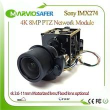 Capteur H.265 4K 8MP   Capteur Sony IMX274, panneau de Module de caméra CCTV réseau IP PTZ, Vision parfaite du jour et de la nuit, Onvif objectif 3.6-11mm