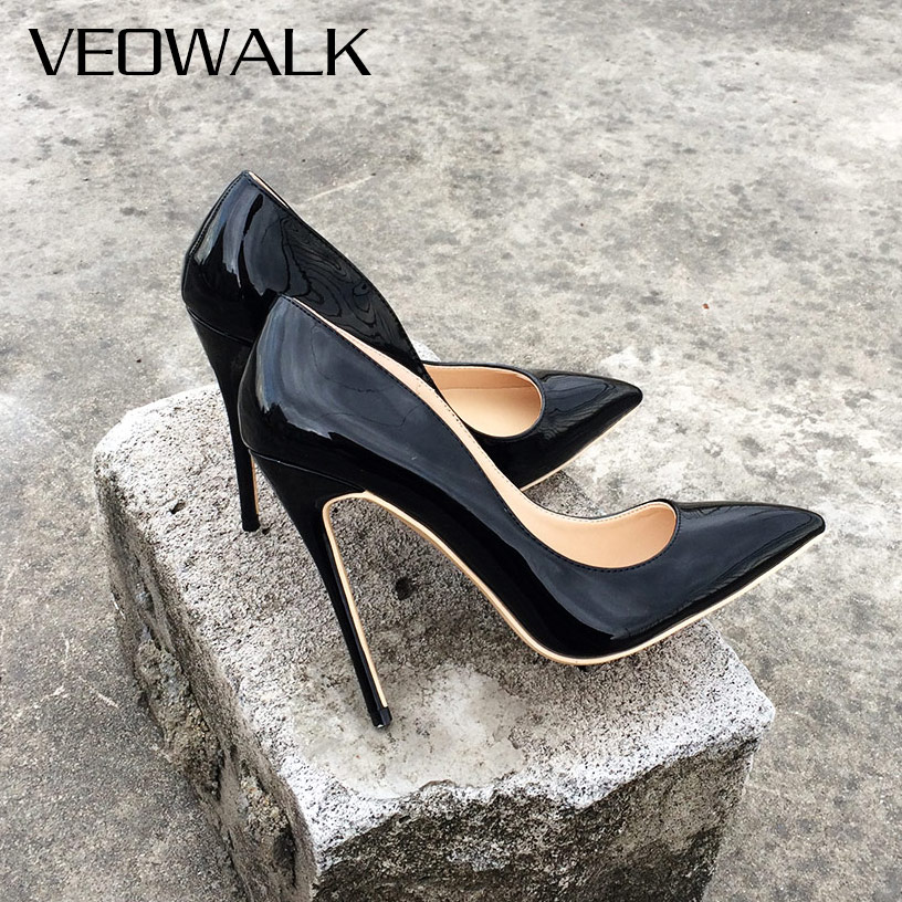 Veowalk/женские туфли-лодочки на высоком каблуке; Офисная обувь черного цвета; Вечерние туфли из лакированной кожи с острым носком на шпильке; Ж...