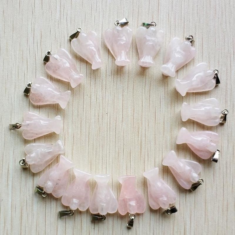 الجملة 20 قطعة/الوحدة الأزياء عالية الجودة منحوتة الحجر الطبيعي الوردي الملاك المعلقات سحر لصنع المجوهرات شحن مجاني
