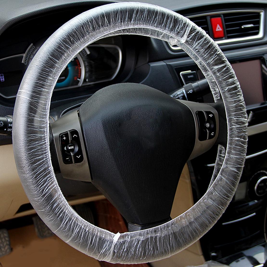 Beler 100 pçs universal claro elástico plástico descartável volante capa impermeável anti-poeira acessórios para o caminhão do carro automóvel