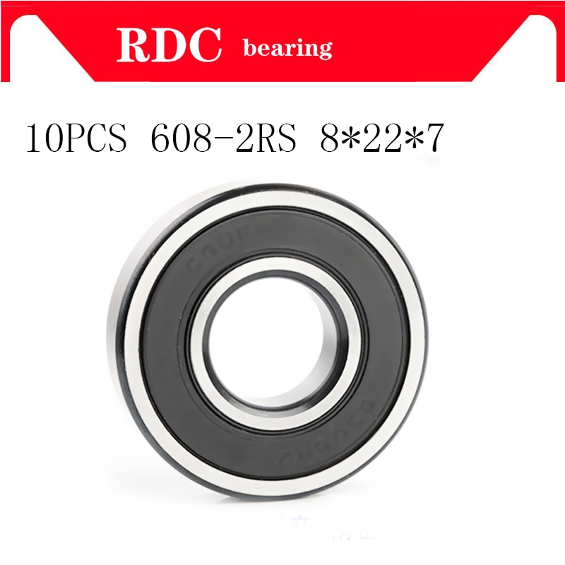 10 piezas ABEC-5 608 2RS 608RS 608-2RS 608 RS 8*22*7mm miniatura sello de goma de skate rodamientos de bolas de ranura profunda de calidad