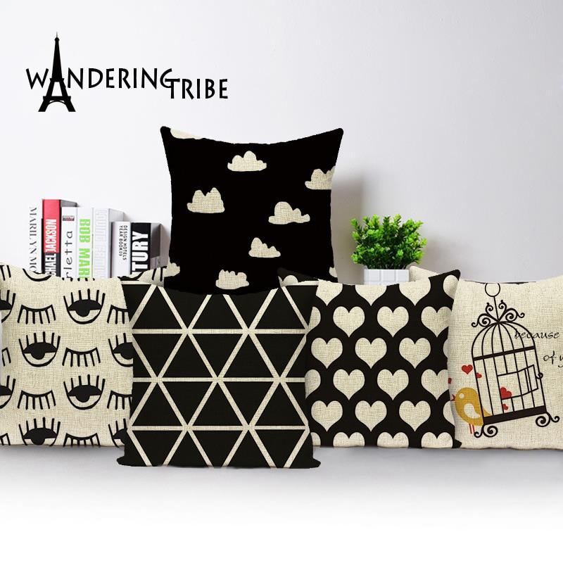 2019 New black and white geometric cushion cover home sofa cushions custom cushion cover birds outdoor decorative pillowcase