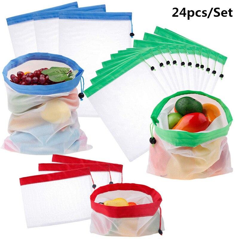 24 sacos reusáveis do produto da malha dos pces sacos laváveis para o armazenamento do supermercado frutas vegetais brinquedos organização e armazenamento em casa