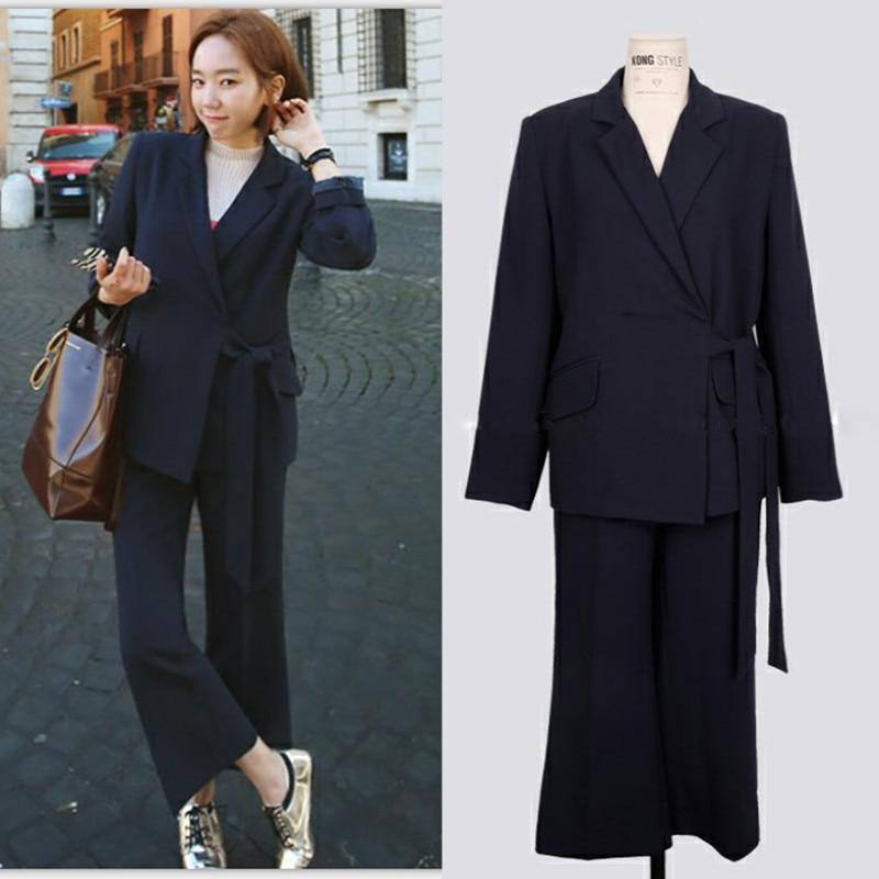 Pants suits elegant woman suit women's spring and autumn Slim fashion temperament casual office business OL two-piece suit