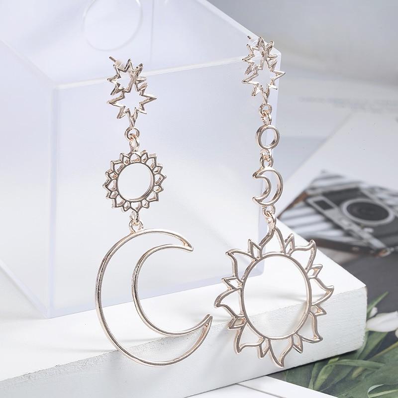 Модни нови обеци прости асиметрични обеци бог на слънцето и бога на луната за дами