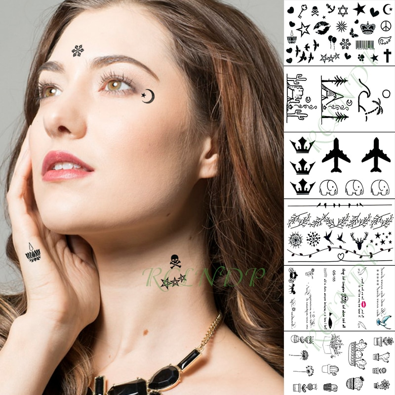Waterproof Temporary Tattoo Sticker Face Stickers Star Heart Skull Finger Hand Arm Foot Flash Tatoo for Kid Girl Men Women