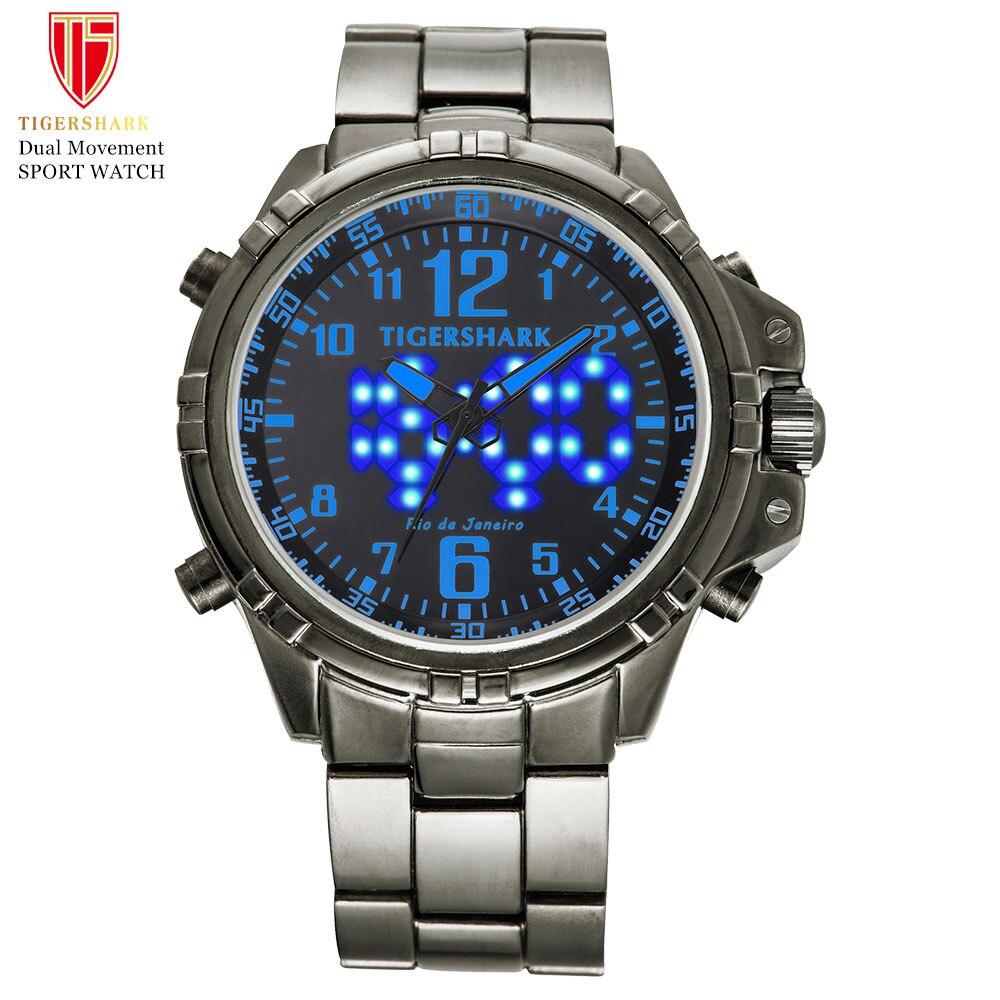 TIGERSHARK LED relojes digitales para hombre relojes de pulsera de cuarzo deportivos Hombre 30 M impermeable natación reloj de acero inoxidable