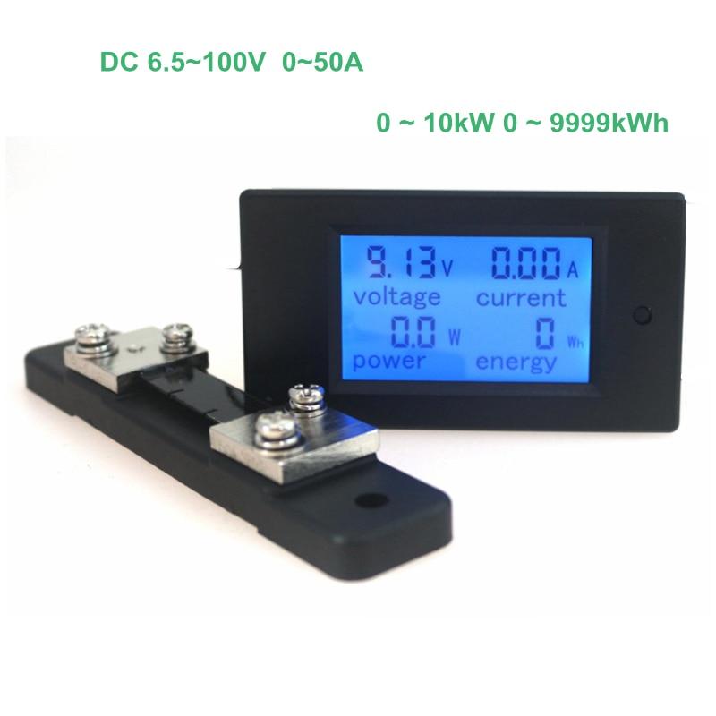 Цифровой измеритель силы тока Вольтметр Амперметр Вольт Ампер DC 6,5-100 в 50A с DC 50A/75мв шунт