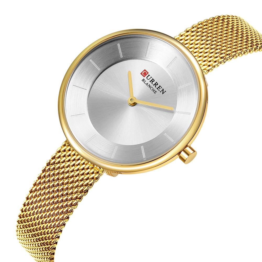 Bracelet de maille en acier doré de luxe montre à Quartz montres pour femmes de marque Curren étanche Ultra-mince montre-Bracelet de mode Ladeis