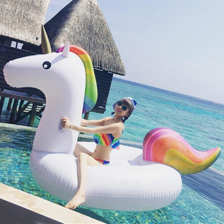 200cm 78 pulgadas unicornio gigante Piscina flotador de natación anillo inflable para adultos niños agua círculo vacaciones juguete Piscina