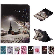 3D City peinture étui en cuir pour Samsung Galaxy Tab A 9.7 SM-T550 T555 P550 P555 9.7 pouces étui de protection pour tablette + film + stylo