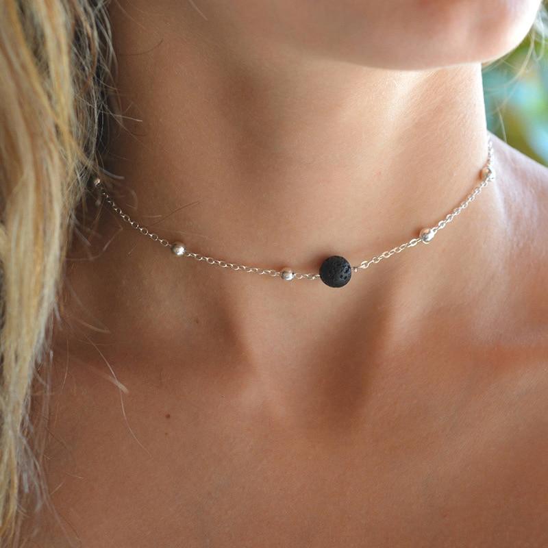 KBJW simple one bead choker vesuvianite piedra cuentas encanto hecho a mano cadena Collar corto para mujer