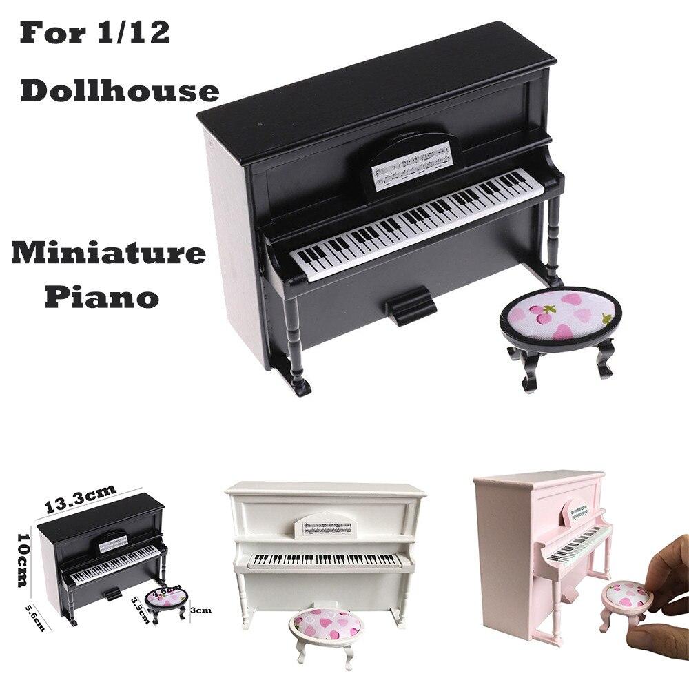 Miniature Wooden Black Upright Piano Mini Doll Scale Model for 1/12 Dollhouse Mini Doll House Accessories Kit F3
