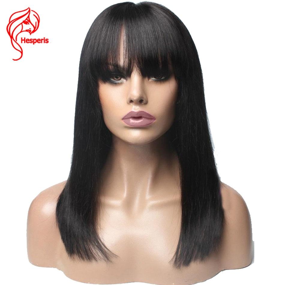 Pelucas de cabello humano Hesperis 13x6 Bob corto con encaje frontal Remy Bob brasileño pelucas de encaje frontal con flequillo pelucas de encaje cortas Pre desplumadas