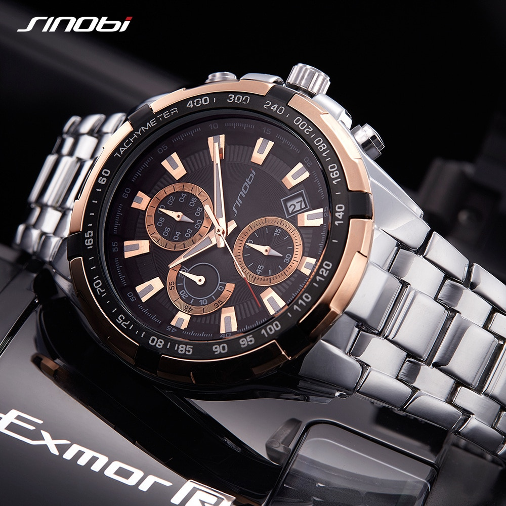 SINOBI Men's Watch Fashion Chronograph Mens Watches Top Brand Luxury Sport Watch Man Watch Waterproof Full Steel Clock relogio
