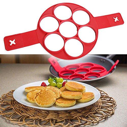 1PCS Red Silicone Non-stick Pancake Ring Kitchen Egg Mold Egg Ring Maker Fantastic Silicone Pancake Maker Kitchen Tools