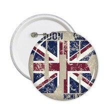 5pcs London King UK England Landmark Flag Mark Illustration Pattern Round Pin Badge Button