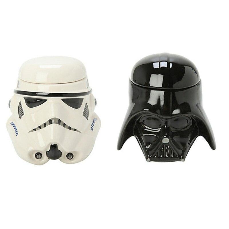 3D creativo negro blanco soldado Guerrero cerámica tazas Star Wars porcelana taza para beber café taza de agua