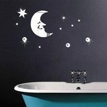 Sourire croissant, autocollant mural, motif de sommeil de la lune, étoiles, décoration dintérieur bricolage