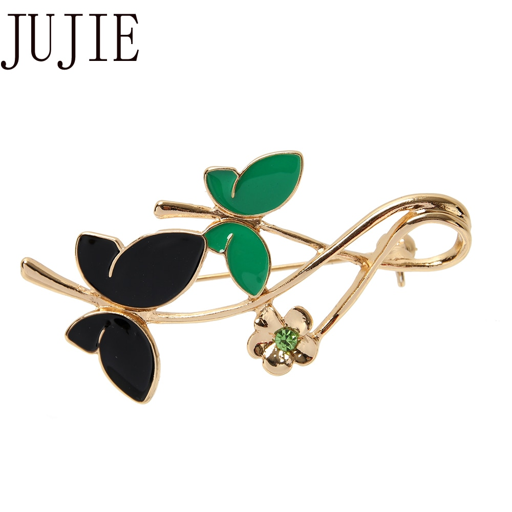 JUJIE Moda Esmalte Borboleta Broches Para As Mulheres 2019 de Cristal Flor Broche Pinos Acessórios Vestido de Jóias Planta Dropshipping