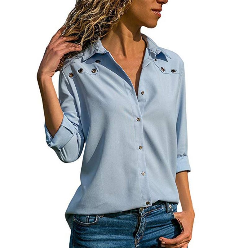 Женская блузка с длинным рукавом, шифоновая блузка с отложным воротником, офисная блузка, весна 2019 блузка trend