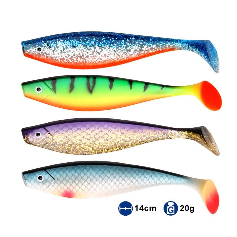 Isca de pesca macia pro shad isca berserk 140mm 20g 2 pçs mar pesca de água salgada baixo isca de pesca para pesca pique