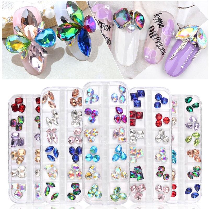 Nuevo 1 Uds adornos de manicura perforación satélite Sinfonía goteo diamante caja avanzada Color diamante joyería