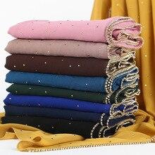 Luxury Drling Pearl Chiffon Head Scarf Soft Long Muslim Scarves For Women Hijab musulman femme Shawl and Wrap foulard islamique