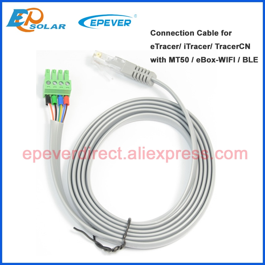 Free shipping cable CC-RJ45-3.81-150U with wifi BLE BOX conntect EP series IT ET CN solar controller