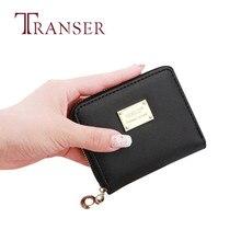 TRANSER dames court noir célèbre Design femmes en cuir petit portefeuille porte-carte fermeture éclair porte-monnaie pochette de haute qualité solide z21 25