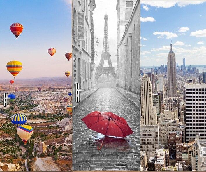 Adhesivos 3D creativos DIY de Nueva York Manhattan pavo globo Torre Eiffel para puerta para habitación de Niños Accesorios de decoración del hogar