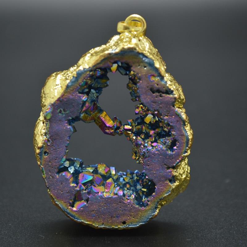Lote de 5 unidades de colgantes de piedra de Color arcoíris de titanio chapado geoda Drusy Slice forma libre apto para joyería de moda